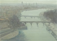 bridges over seine, during dusk by henri visconte