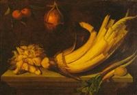 bodegón con cardo, rábanos y limón sobre una mesa con naranjas y un melón colgados by juan (fray) sanchez y cotan