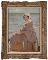 portrait de femme devant la mer by franz van holder