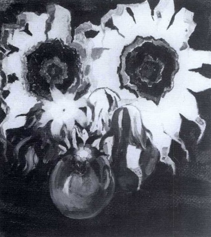still life with flowers in a blue vase by kees van der laan