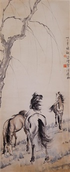 watercolour horses scroll by xu beihong