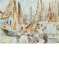 card game between trips (recto); boats at dock (verso) by martha walter