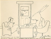 woman visits doctor who is a giant rabbit (illus. for 2/13/1937 issue of new yorker) by james thurber