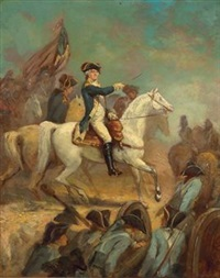 portrait of george washington on horseback by john trumbull