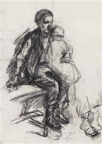 study of a young boy holding a small child on his lap by jozef israëls