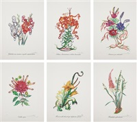 surrealistic flowers: six plates by salvador dalí
