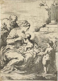 the virgin nursing the infant christ; god father and the holy ghost (2 works) by bartolomeo biscaino