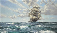 stunsails pulling - the oberon by montague dawson