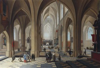 the interior of a gothic cathedral, with elegant figures conversing and a priest taking mass by frans francken and pieter neefs the elder