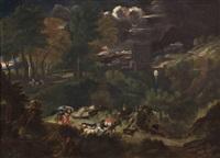 paesaggio con animali e figure by gaspard dughet