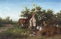 cabra y gallinas by philibert-leon couturier