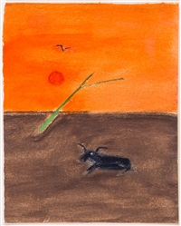 sheep under orange sky by craigie aitchison