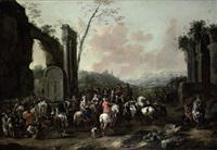 an italianate landscape with travellers gathering by a fountain amongst classical ruins by simon johannes van douw