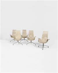 tulipe suite de cinq fauteuils à roulettes by preben fabricius and jørgen kastholm