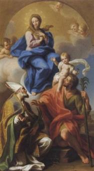 madonna in gloria con san cristoforo e santo vescovo by gaetano lapis
