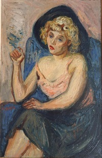 woman in pink slip by moses soyer