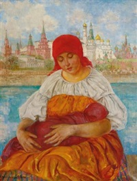 mother and child in front of kremlin by ekaterina kachura-falileeva