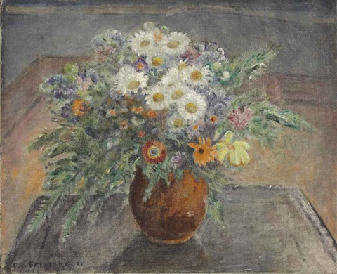 alpine flowers flowers in a brown vase by frederick carl frieseke