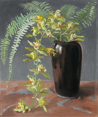 orchidee und farnblätter in einer vase by ernst kreidolf