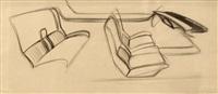etude d'intérieur de studbaker avanti (study) by raymond fernand loewy