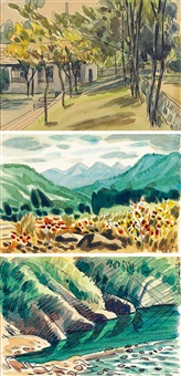 a.校園一角 b.五指山 c.上坪溪 (a. campus, b. wuzhi mountain, c. shangping river) (3 works) by xiao rusong