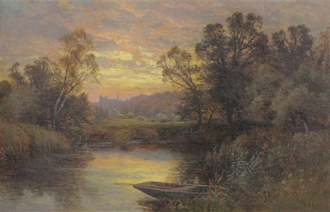 on the river arun arundel castle in the distance by alfred augustus glendening sr