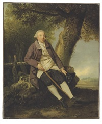 portrait of thomas bradshaw, esq., junior secretary to the treasurer in a wooded landscape by johann joseph zoffany