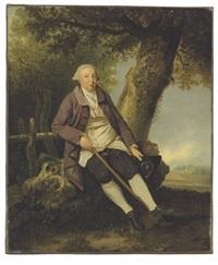 portrait of thomas bradshaw, esq., junior secretary to the treasurer in a wooded landscape by johann joseph zoffany