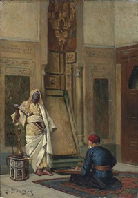 a musician and a guardsman in an oriental interior by ludwig deutsch