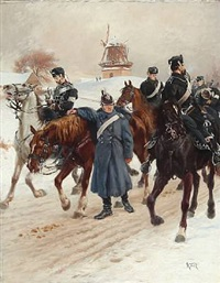 soldiers on horseback at wintertime, presumably from the second schleswig war 1864 with dybbøl mill in the background by karl frederik christian hansen-reistrup
