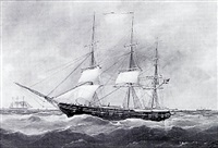 american masted ship at sea by edouard (the younger) adam