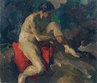 sitzender weiblicher akt by emanuel hegenbarth