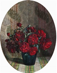 a pair of still lifes with flowers (pair) by harald martin hansen holm