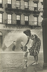 horatio + washington sts., mother and baby in gutter by ruth orkin