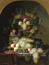 grapes, peaches, plums raspberries and cherries arranged on a marble ledge by jean laurent