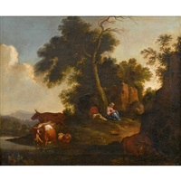 arcadian landscape with figures at rest and cattle by nicolaes berchem