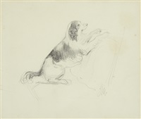 study of a dog; figures shooting rooks (2 works) by sir john everett millais