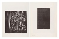 ensemble de deux oeuvres: h1973-17 (set of 2) by hans hartung