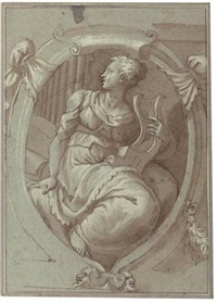design for a decorative panel with an allegorical figure of music by giuseppe (salviati) porta
