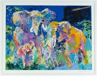 elephant family by leroy neiman