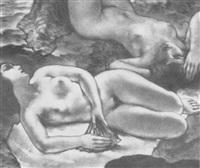 reclining female nudes by amartro-valerio