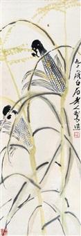 秋实 立轴 设色纸本 (corn) by qi baishi