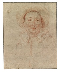 bust of an actor dressed as pierrot by jean antoine watteau