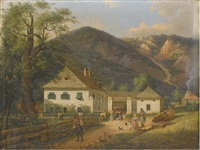 ferme autrichienne au pied de montagnes by josef ginovsky