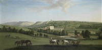 a view of chatsworth house and park from the south-west with horses and figures in the foreground by peter tillemans