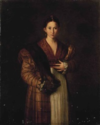 portrait of a lady, known as antea, three-quarter-length, in an ochre dress with a stoat over her shoulder by parmigianino