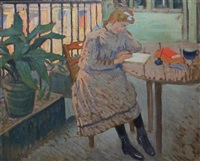 young girl reading by louis charlot