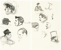 deux feuilles d'études de têtes (2 studies in 1 frame) by henri evenepoel