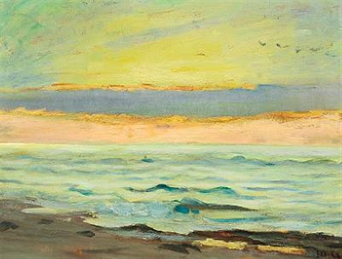 view from the beach over the sea. the sky is coloured in orange, blue, green and yellow by michael peter ancher