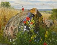 wildflowers by a cornfield by carl frederik peder aagaard